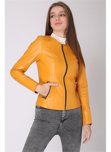 Deri Effect Kadın Deri Ceket Sarı